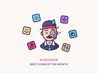 Best Icons Of The Month! character moustache hat monocle reporter gentleman man sir illustration outline icon