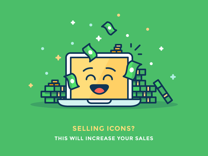 Sell more stock icons! buy sell smile emoji cash money apple mac computer illustration outline icon