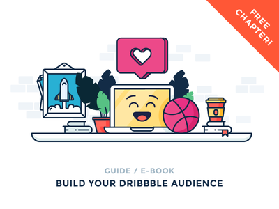 Build Your Dribbble Audience coffee emoji followers likes workspace table ball computer illustration outline icon dribbble