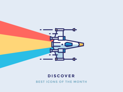 Best Icons Of The Month! engine rainbow flying race space fly x wing star wars spaceship illustration outline icon
