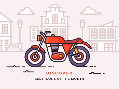 Best Icons Of The Month! biker drive ride village city wild west motorbike bike motorcycle illustration outline icon