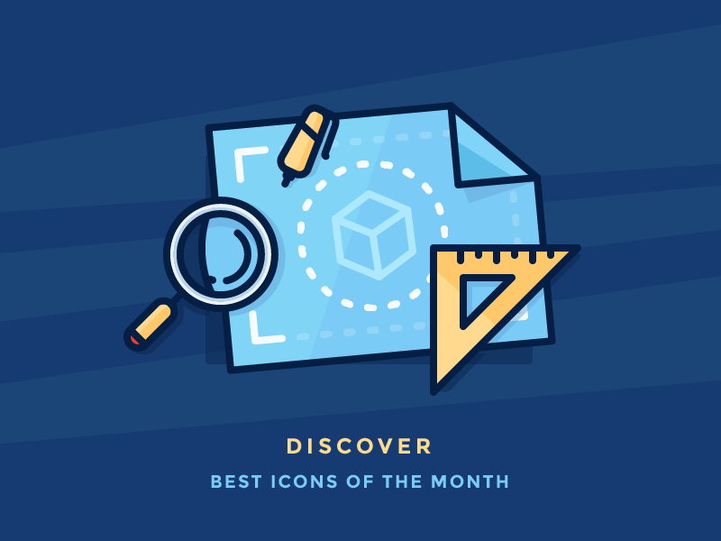 Best Icons Of The Month! wireframes pencil cube plan sketch ruler magnifying glass map blueprint illustration outline icon