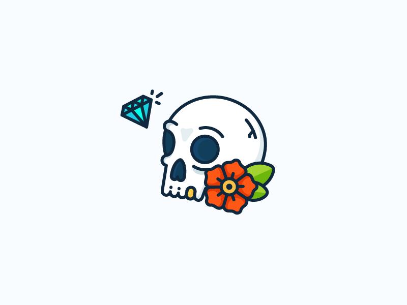 Skulls, Diamonds and Flowers golden tooth kill dead sailor jerry tattoo rose flower diamond skull illustration outline icon