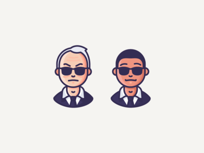 MIB tie glasses suit agent k agent j mib avatar man in black character illustration outline icon
