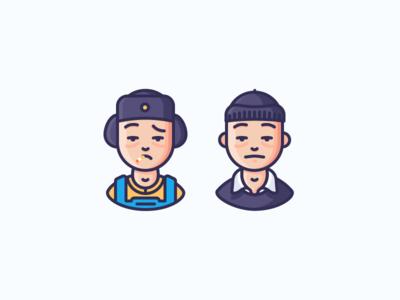 Random Dudes are Random smoking thief docks worker man guy person avatar character illustration outline icon