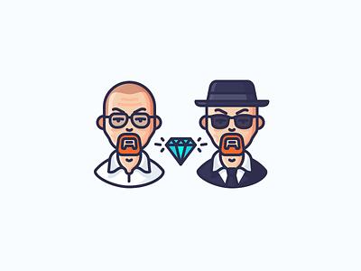 Walter White crystal meth heisenberg walter white breaking bad man guy person avatar character illustration outline icon