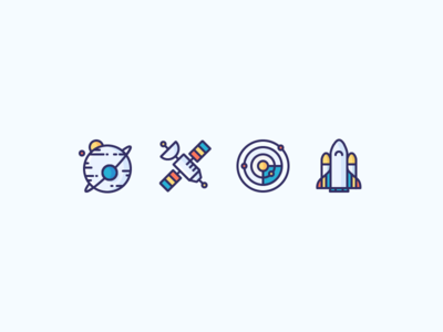 Space Icons for a Video Course solar system moon shuttle rocket space ship galaxy satellite planet space illustration outline icon