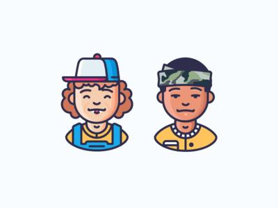 Stranger Things! emojis trucker hat lucas sinclair dustin henderson boys avatars characters kinds stranger things illustration outline icon