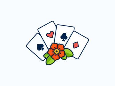Lucky! gambling clubs diamonds hearts spades rose flower tattoos jerry sailor poker cards illustration outline icon