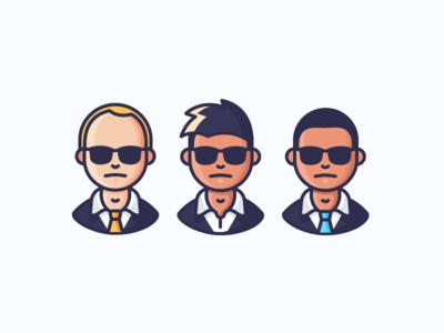 FBI glasses shades tie suit man men people avatars characters illustration outline icon