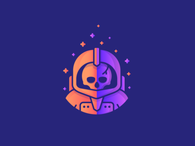 Space Pirates! stars spaceman gradient spacesuit astronaut dead skull space illustration outline icon