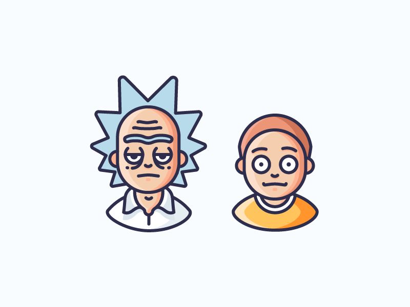 Rick And Morty! cartoon science man kid scientist tv series rick and morty avatar character illustration outline icon