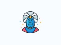 Genie! aladin stars blue beard wish magic genie avatar character illustration outline icon