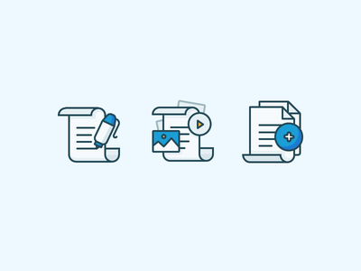 Papers and Documents sign scroll play add image pen file document paper illustration outline icon