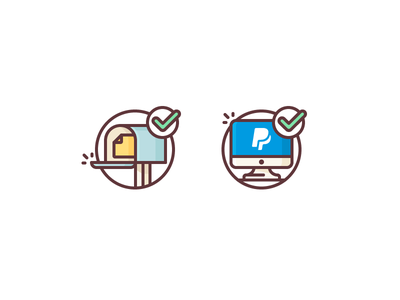 How We Pay approve getting payed paying mailbox mail check paypal macbook computer illustration outline icon