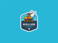 Roller Disco! skate fly wings roller blades party disco roller badge illustration outline icon