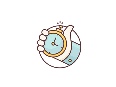 Time is Ticking! hours minutes seconds watch clock run fast timer hand illustration outline icon
