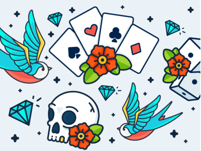 Sailor Jerry! rose flower skull sparrow dices cards tattoo jerry sailor illustration outline icon