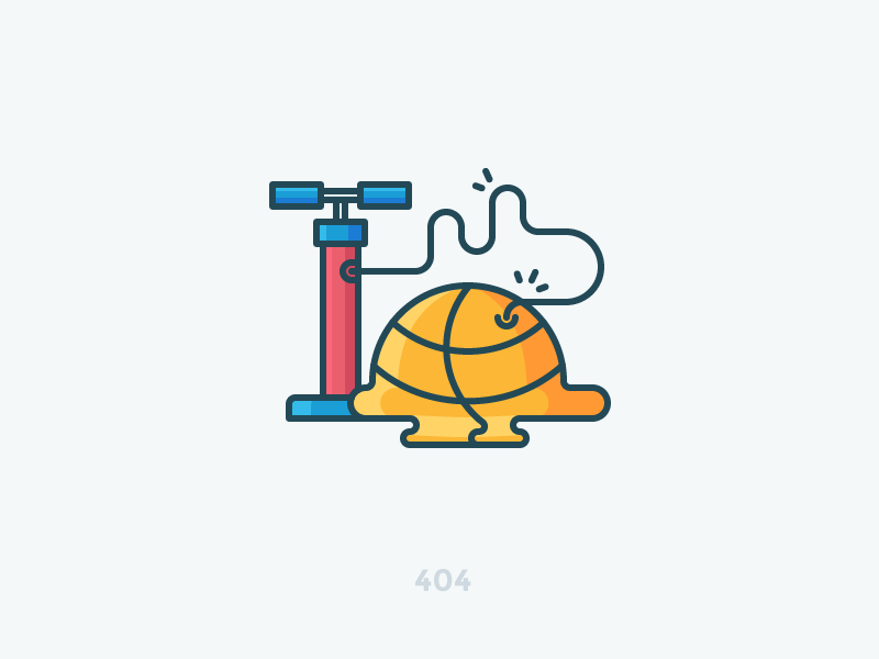 404 page not found game play ball deflated air pump basketball 404 illustration outline icon