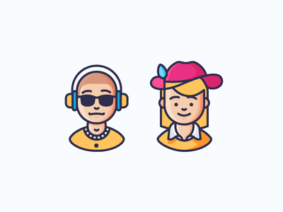 Couple Goals! girlfriend boyfriend characters headphones sunglasses woman man girl boy illustration outline icon