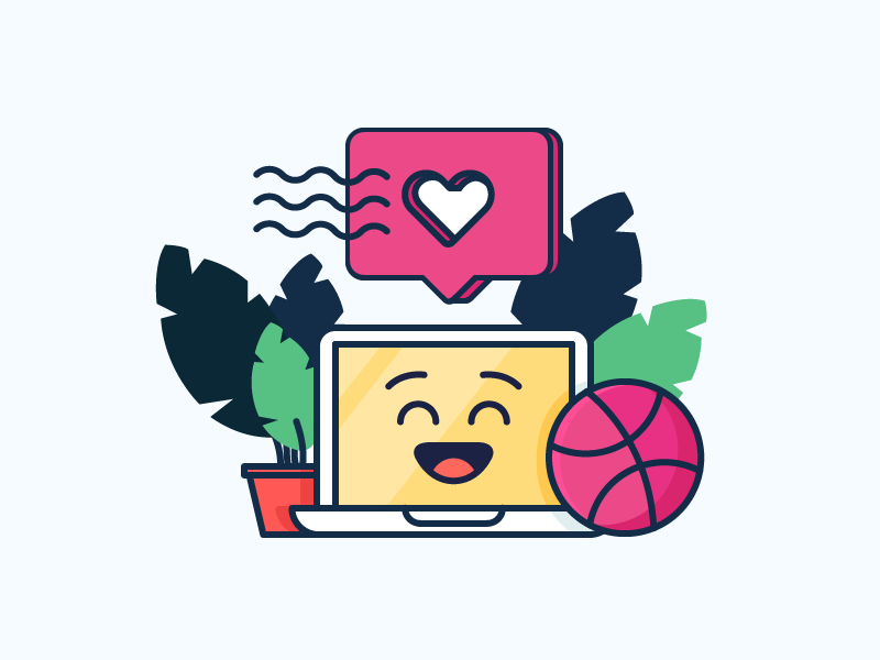 Happy Computer! emoji leaves smile plant dribbble like mac macbook computer illustration outline icon