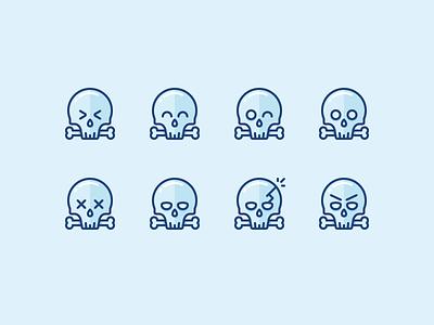 Ahhrrr! Skulls and Pirates! emotions angry sad smiling bones emoji pirates dead skull illustration outline icon