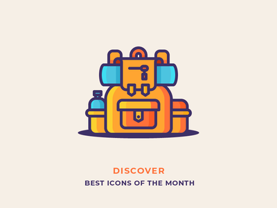 Best Icons Of The Month! essentials mountains packing trip hiking travel backpack illustration outline icon