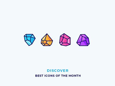Diamonds - Best Icons of the Month! ice jewel gem treasure jewellery ruby brilliant rock diamond illustration outline icon