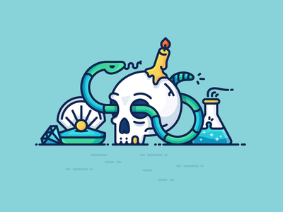 Best Icons Of The Month! dead snake treasure candle alchemy perl diamond skull illustration outline icon