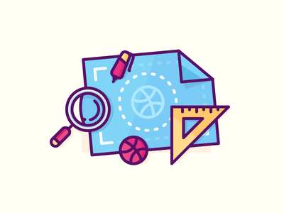Audience Building Blueprint schema looking glass ball dribbble ruler plan map blueprint illustration outline icon