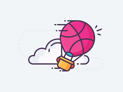 Dribbble Balloon! lift up clouds sky fly hot air balloon dribbble illustration outline icon