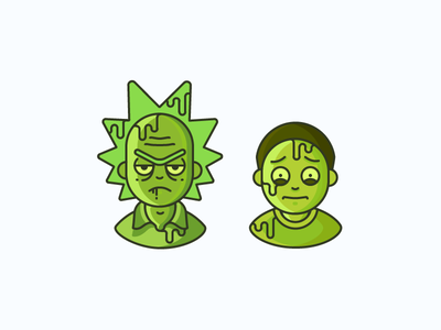 Toxic Rick'n'Morty scientist boy man tv series toxic character cartoon avatar rick and morty illustration outline icon