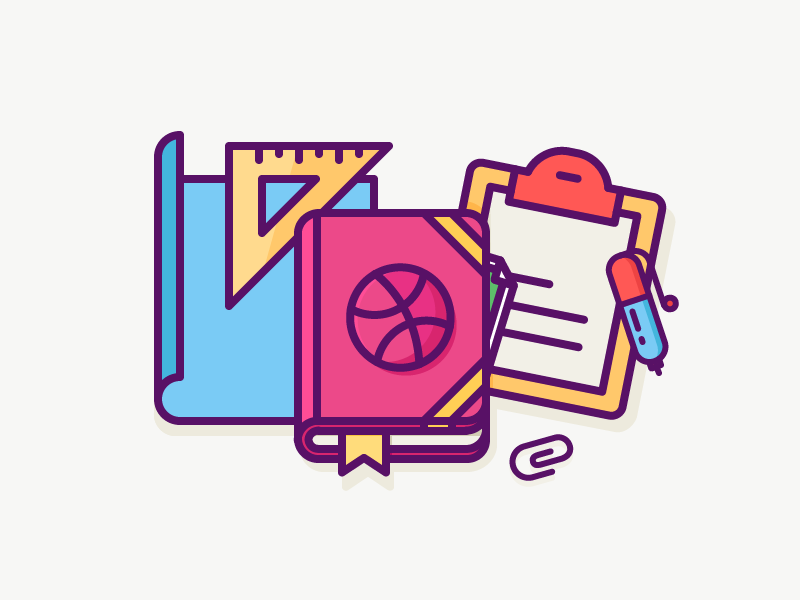 Build your Dribbble audience! work items office supplies tools paper pen ruler dribbble book illustration outline icon