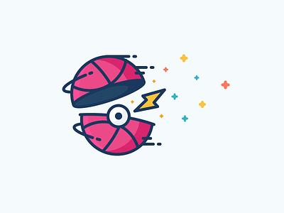 Dribbble Ball! i choose you stars throw lightning ball thunder dribbble pokeball pokemon illustration outline icon