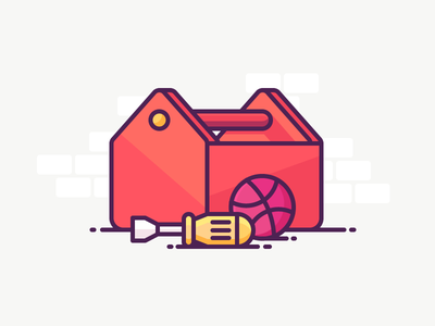 Dribbble Toolkit! fix repair wall box screwdriver dribbble ball toolkit tools illustration outline icon