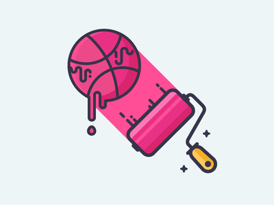 Colors! pink dripping colour roller draw color paint logo dribbble illustration outline icon
