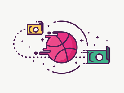 Liquid Dribbble! particles fast dripping ball money fly liquid dribbble illustration outline icon