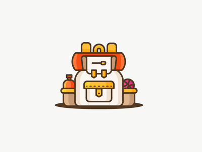 Ready for your journey? adventure trip dribbble hiking mountains sleeping bag explore travel backpack illustration outline icon
