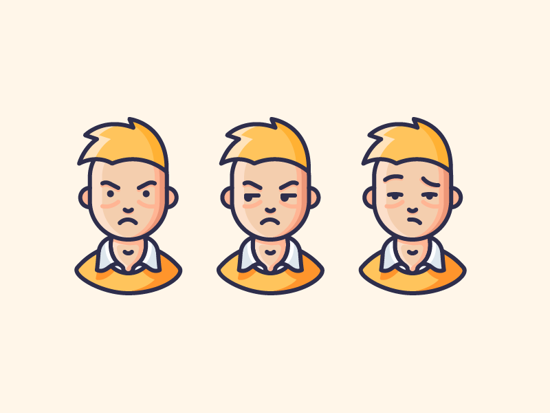 Emotions emotions emoji frustrated sad mad angry man people character illustration outline icon