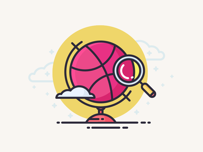 Dribbble Globe world ball explore travel clouds view magnifying glass dribbble globe illustration outline icon