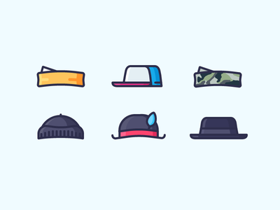 Best Icons Of The Month! winter hat military trucker cap headwear bandana cap hat illustration outline icon