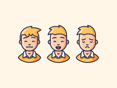 Emotions emotions emoji pleased happy laughing sad man people character illustration outline icon