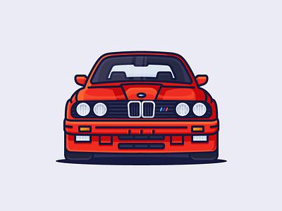 BMW M3 automotive headlights fast e30 sports auto m3 bmw car illustration outline icon