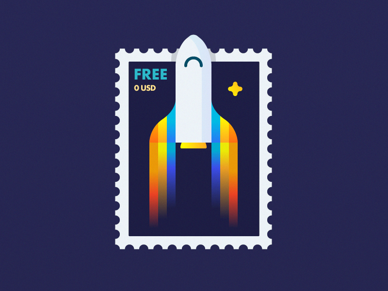 Rocket Postage Stamp cosmos space shuttle retro post stamp postage fly rocket illustration outline icon