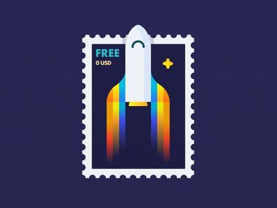 Rocket Postage Stamp