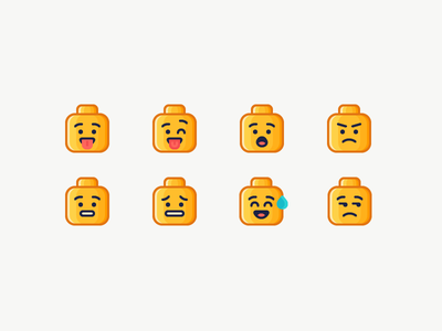 LEGO Emoji head nervous surprised angry sad happy emotion emoji lego illustration outline icon