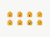 LEGO Emoji head nervous surprised angry sad happy emotion emoji lego illustration outline icon