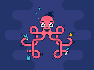 Productive Octopus! emoji job to be done sea work smiling happy character octopus illustration outline icon