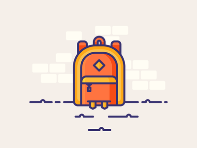 Compact Backpack pack sack bag rag sack stuff packing hike explore travel backpack illustration outline icon