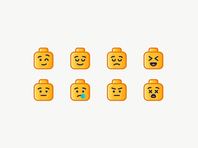 LEGO Emoji head dead surprised angry sad happy emotion emoji lego illustration outline icon